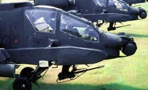 The Apache has two cockpit sections: The pilot sits in the rear and the gunner sits in the front. The rear section is raised above the front section so the pilot can see clearly.