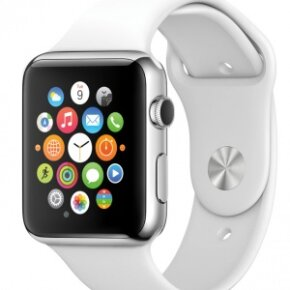 The icons on the Apple Watch appear as small clustered circles.