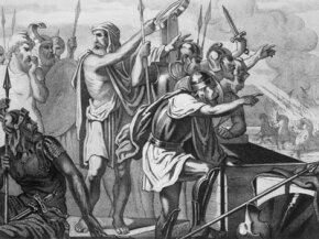 A depiction of Archimedes instructing Syracusian troops holding the mirrors for his death ray.