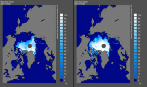 This satellite image shows that Arctic ice levels in 2007 (left) were less than even the record low levels of 2005 (right). See more global warming images.