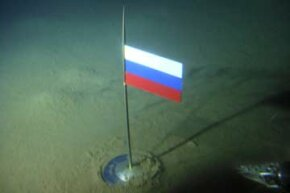 The Russian flag marks the North Pole on the Arctic Ocean seabed on Aug. 2, 2007, following the descent of two Mir-1 mini submarines.