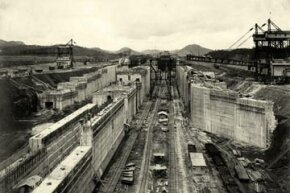 The building of the Miraflores lower locks at the Panama Canal, 1912.