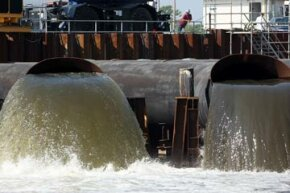 The 17th Street Canal pumps are tested during a U.S. Army Corps of Engineers hurricane preparation exercise in New Orleans, 2007. A breach in the 17th Street Canal levee flooded the area with more than 10 feet of water after Hurricane Katrina.