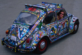 "Because of his extreme attention to detail, Ron Dolce's ""Glass Quilt"" art car took more than 18 years to complete."