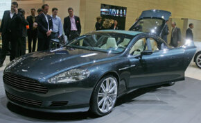 The Aston Martin Rapide sits on display at the 76th Geneva International Motor Show on March 1, 2006, in Geneva, Switzerland. See more sports car pictures.
