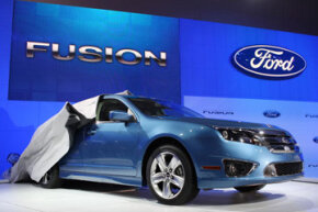 Ford unveiled its 700 city miles per tank Fusion hybrid car at the Los Angeles Auto Show on Nov. 19, 2008 in Los Angeles, Calif.
