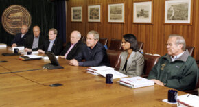 The primary speaker should have control of the audio portion of the conference, such as at this teleconference held at