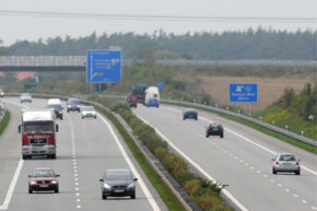 Vehicles drive on the German highway A20 from Luebeck to Stettin, near Rostock, northern Germany.
