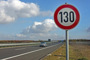 A speed limit traffic sign stands on the motorway A38 south of Leipzig, Germany.