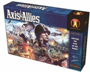 The Axis & Allies game box contains all the plastic miniatures needed, plus the board, dice, rulebook and various counters and charts used to track IPCs and combat.
