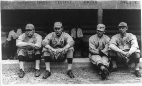 Babe Ruth (left) with some of his Boston Red Sox pitching teammates