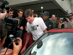 Jeff Getty, leaving the hospital after a bone marrow transplant