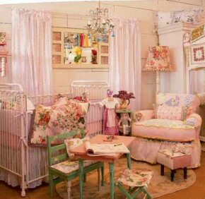 Vintage pink and orchid fabrics, layered and pieced together, make this room pretty and expressive. Designer: Pamela DiCapo. Retailer: Lauren Alexandra.