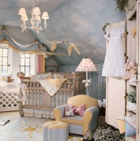 A trio of flying geese, one garbed as Mother Goose, adds an imaginative touch to this sunny, sky blue nursery. Designer: Pamela DiCapo. Retailer: Lauren Alexandra
