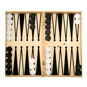 A basic backgammon setup awaits the players who make the game come to life.