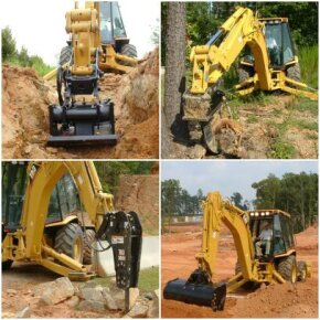 You can attach all sorts of backhoe tools [b]to a Caterpillar backhoe loader.