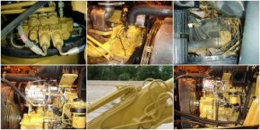Backhoes pump oil through a complex system of hoses and valves.