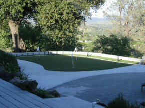 A backyard putting green at a home in California.