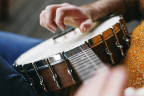 The banjo is basically a drum with a long neck and strings stretched across it, affixed at either end.