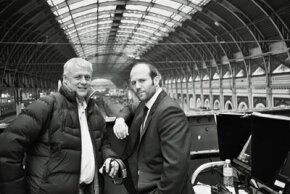 """Director Roger Donaldson and star Jason Statham on the set of """"The Bank Job"""""""