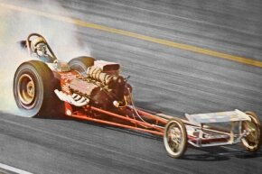 Pete Robinson, pictured here driving a dragster, got a leg up on his competitors by using folding jack stands to raise the rear of his car.