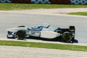 Mika Salo drives the Tyrrell 024, the predecessor to the 025, at the 1996 San Marino Grand Prix. Salo also drove the 025 in the 1997 Formula One season.