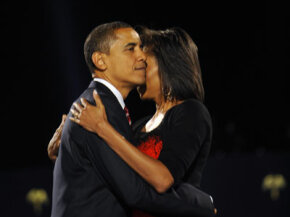 President-elect Barack Obama hugs his wife Michelle during an election night rally on Nov. 4, 2008.