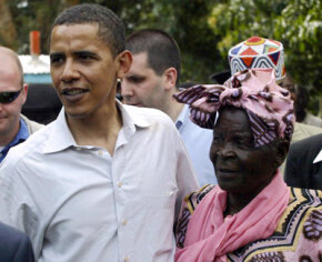 Barack Obama tours his ancestral homeland Kenya, with his grandmother, Sarah Obama, in August 2006.