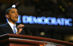 Sen. Obama delivers the keynote address at the 2004 Democratic National Convention in Boston.