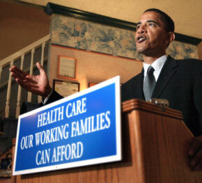Barack Obama holds a press conference in a Chicago restaurant in 2004. At the meeting, he unveiled a plan to help small business owners provide health insurance for their employees.