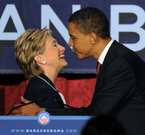 Foes no more: After Obama clinched the Democratic nomination in June 2008, Clinton withdrew from the race and gave her support to him. Here they're shown at a Women for Obama fundraiser in July 2008.