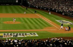 Sports Image Gallery Lawn striping, seen here in Game 4 of the 2007 World Series at Coors Field, is a process where designs in baseball fields are revealed by light shining off bent grass. See more sports pictures.