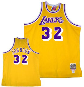 "L.A. Lakers home-game jersey (Thirty-two is the retired number of Earvin ""Magic"" Johnson.)"