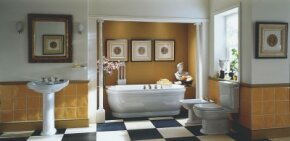 The grace and symmetry of this classic bathroom bring to mind ancient landmarks.
