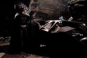 "Batman and his ride in ""Batman Begins"""