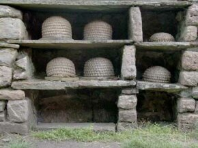 Bee boles, or stone alcoves made to hold traditional beehives called skeps, in Wales.
