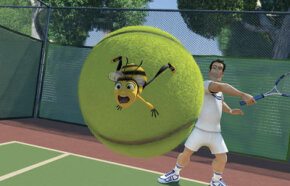 Barry B. Benson (Jerry Seinfeld) takes a ride on a tennis ball whacked by Ken (Patrick Warburton). See more pictures of animated movies.