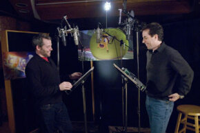 Matthew Broderick and Jerry Seinfeld in the recording studio