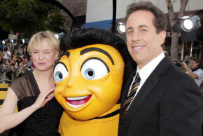 "Renée Zellweger and Jerry Seinfeld at the ""Bee Movie"" premiere"