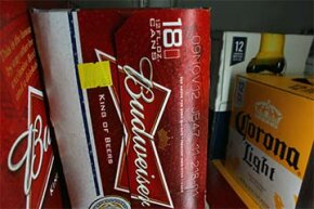 Budweiser proudly displays its 'born-on' date, as seen on this case of beer.