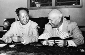Chairman Mao and former Soviet Premier Nikita Khrushchev during happier times between China and the USSR in 1958.