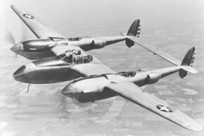 1940s - A test flight of the YP-38 service test fighter aircraft. After the test phase, the P-38 was designated the Lightning.