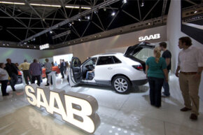 The latest mid-size SUV crossover Saab 9-4X is displayed at the 2011 RAI Autoshow in Amsterdam, Netherlands.