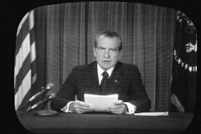 This CBS News screen capture shows American President Richard Nixon reading his resignation speech on TV in 1974, in light of the Watergate scandal. What are some other memorable resignations?