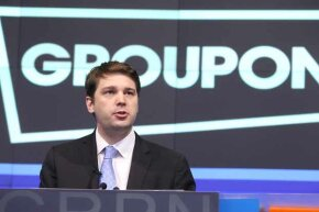 Andrew Mason, then-CEO of Groupon, speaks at the NASDAQ market site in Times Square, N.Y., following Groupon's initial public offering and listing on the NASDAQ exchange in 2011. Two years later, he was history.