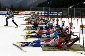 Biathletes firing in the prone position, 2002 Winter Olympics