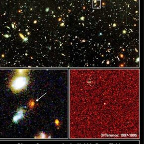 Pictured and magnified here on the left is a supernova that Hubble caught on camera that exploded 10 billion years ago. Called 1997ff, it greatly bolstered the case for the existence of dark energy pervading the cosmos.