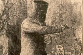 An illustration of Ned Kelly wearing his famous armor.
