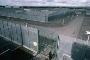 Perimeter fence of the Maze Prison, Northern Ireland.