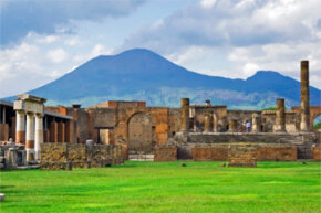 Vesuvius looms over Pompeii, the city that has enthralled archaeologists since the 16th century.